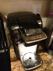 Kureg coffee maker plugged into the kitchen GFI outlet