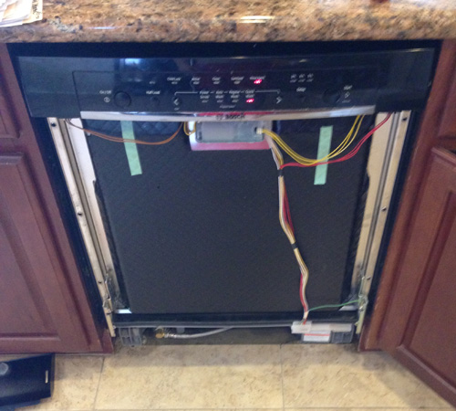 Bosch dishwasher with front panel removed