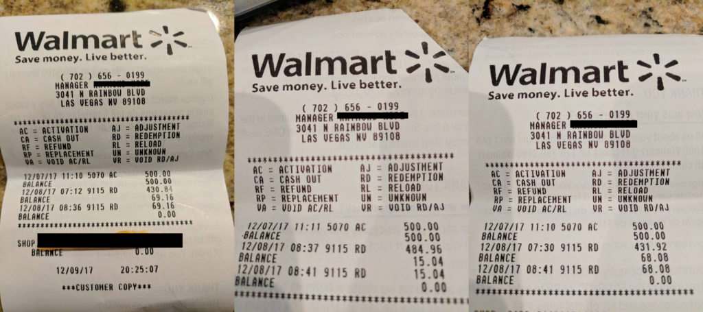 Walmart receipts showing gift card fraud at store 9115 RD