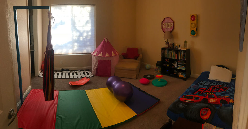 bedroom converted to therapy room for hyperactive child